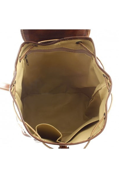 """Made In Italy"" Genuine leather backpack - Gengis - Small - Leather Backpack Large Purse Shop"