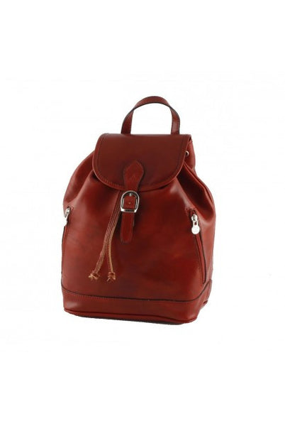 """Made In Italy"" Genuine leather backpack - Gengis - Small - Red - Large Purse Shop - 9"