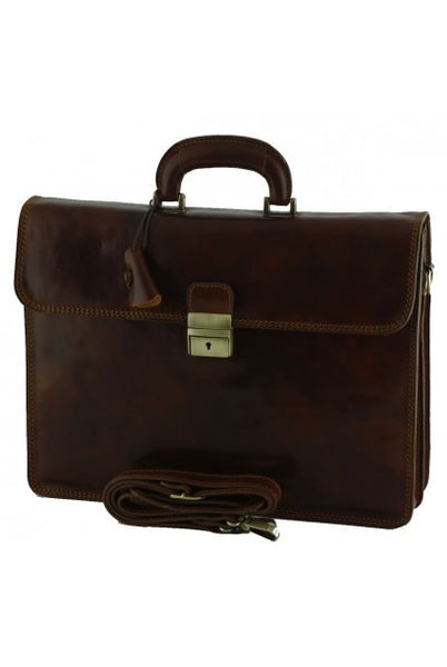 """Made In Italy"" Genuine Leather Briefcase - Schöntal - Leather Briefcase Large Purse Shop"