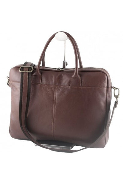"""Made In Italy"" Genuine Leather Briefcase, Laptop Bag - Moma - Leather Briefcase Large Purse Shop"