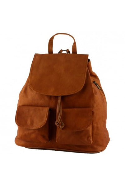 """Made in Italy"" Genuine Leather Backpack - Large - Drottningholms - Leather Backpack Large Purse Shop"