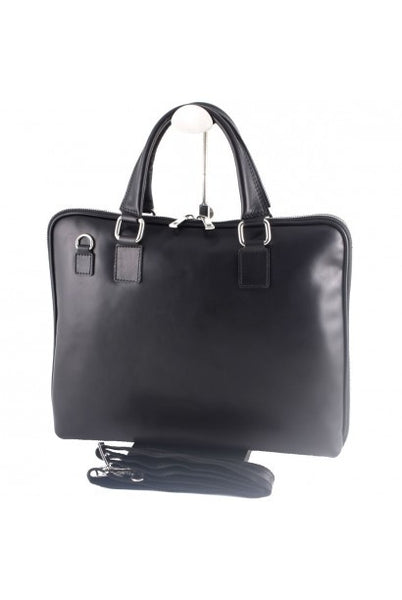 """Made In Italy"" Ladies Leather Briefcase - Eschenheimer Turm - Black - Large Purse Shop - 5"