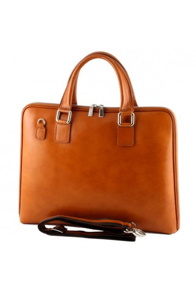 """Made In Italy"" Ladies Leather Briefcase - Eschenheimer Turm - Honey - Large Purse Shop - 4"