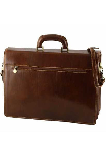 """Made In Italy"" Leather Briefcase - Palaeur -  - Large Purse Shop - 5"