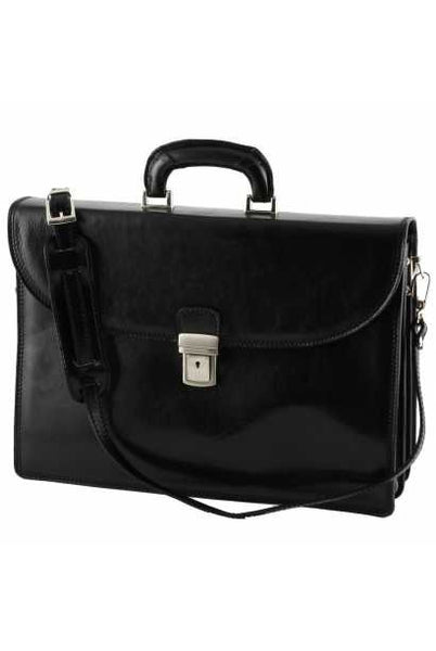 """Made In Italy"" Leather Briefcase - Palaeur - Black - Large Purse Shop - 3"