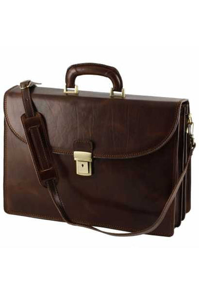 """Made In Italy"" Leather Briefcase - Palaeur - Dark Brown - Large Purse Shop - 4"
