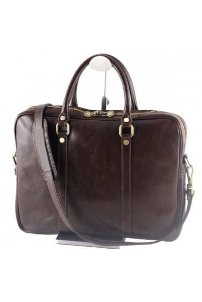 """Made In Italy"" Leather Briefcase, Laptop Bag - Flinders - Dark Brown - Large Purse Shop - 4"