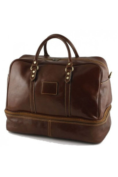 """Made In Italy"" Leather Hand Luggage Bag - Valencia City Hall - Brown - Large Purse Shop - 3"