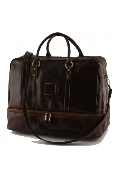 """Made In Italy"" Leather Hand Luggage Bag - Valencia City Hall - Dark brown - Large Purse Shop - 4"