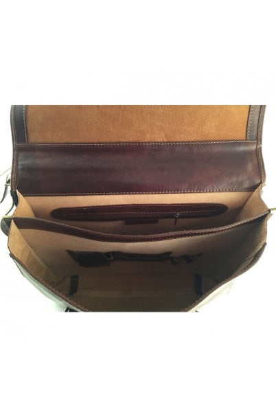 """Made In Italy"" Italian Leather Briefcase - Senkenberg -  - Large Purse Shop - 2"