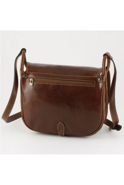 """Made In Italy"" Leather Shoulder Bag - Maison du Roi - Dark brown - Large Purse Shop - 5"