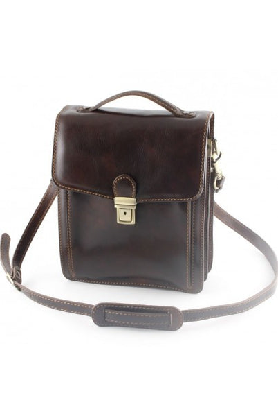 """Made in Italy"" Men's Leather Bag, Cross-body Bag - Tour Eiffel - Leather Man Bags Large Purse Shop"