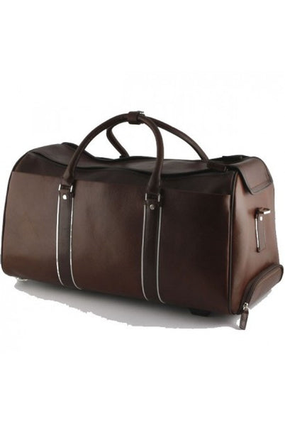"""Made In Italy"" Leather Travel Bag With Wheels - Deutsches Theater - Leather Hand Luggage Large Purse Shop"