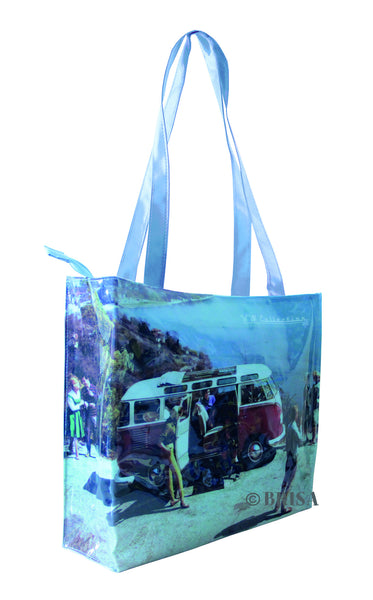 Vintage Beach PVC Shopper Bag