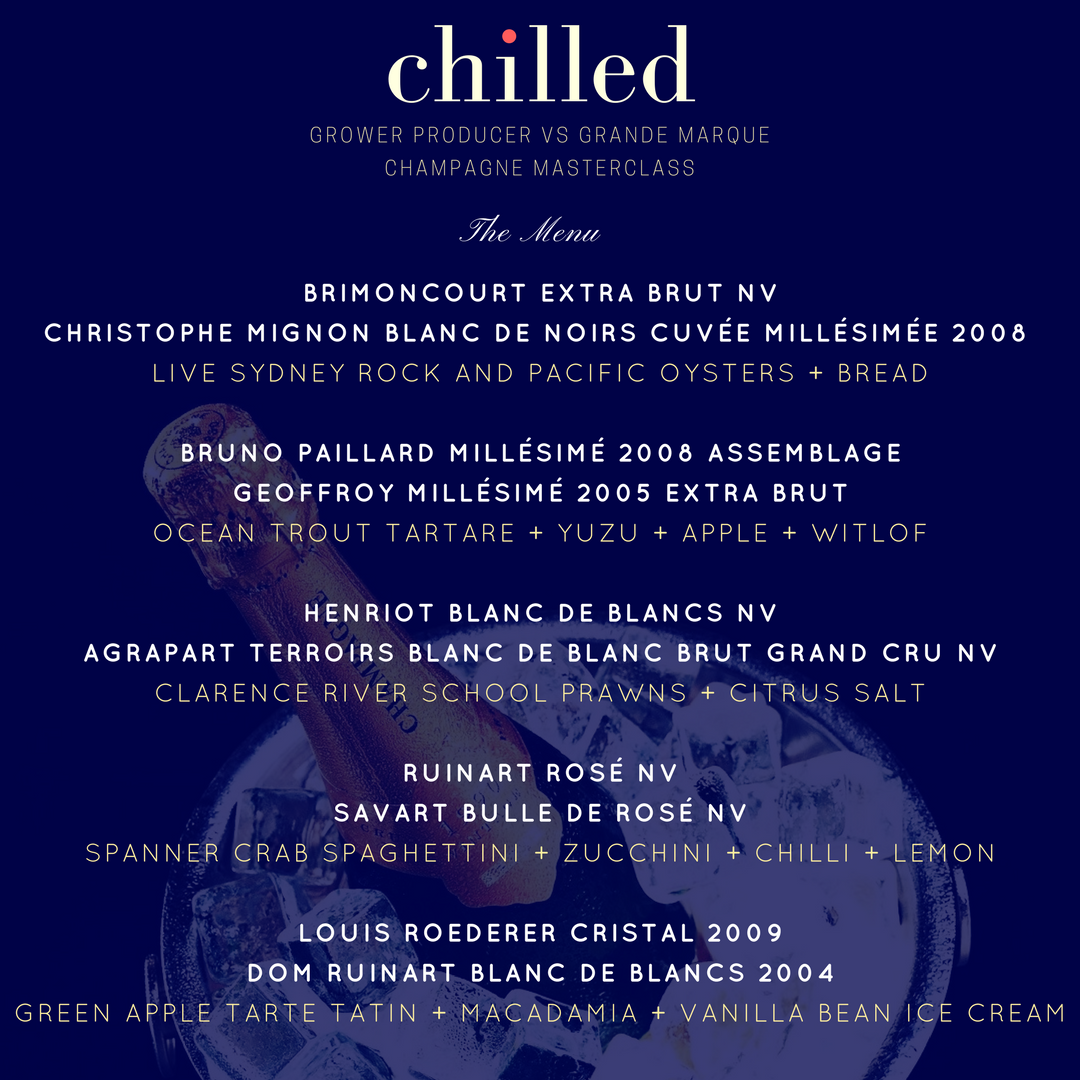Chilled El Vino Champagne Tasting Dinner Love Fish Barangaroo