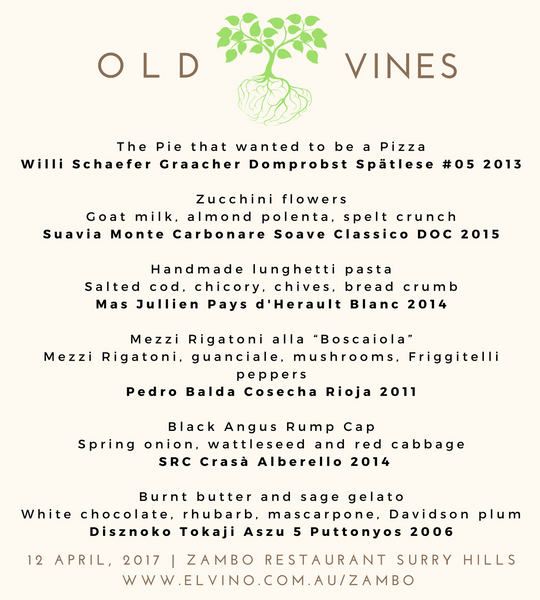 Wine Tasting Dinner: Old Vines