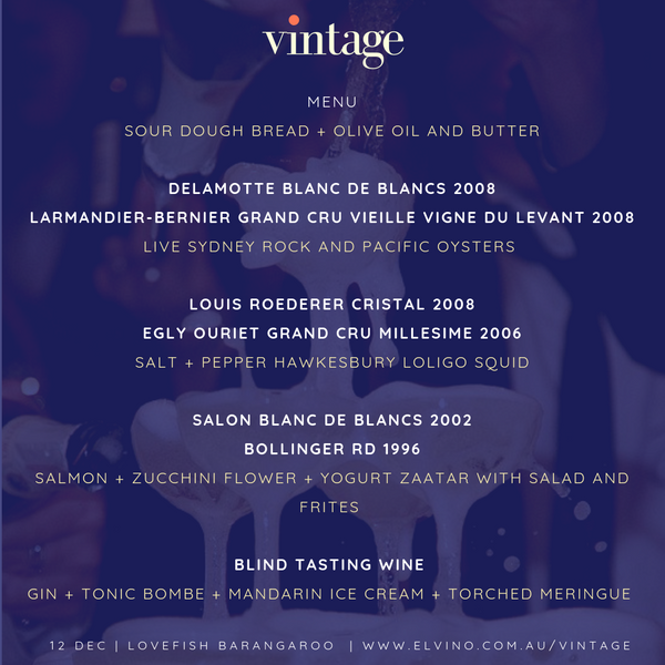 Vintage - Champagne Tasting Dinner (VIP Early Bird Special)