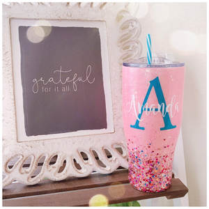 Personalized Large Initial and Name Glitter Tumbler