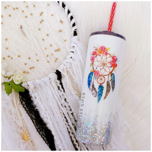 Dream Catcher Boho Watrcolor Glitter Tumbler