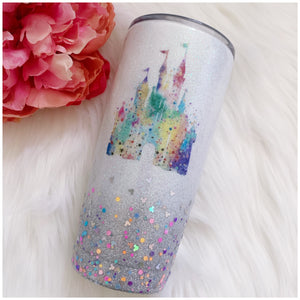 Watercolor Castle with Mouse Confetti Glitter Tumbler