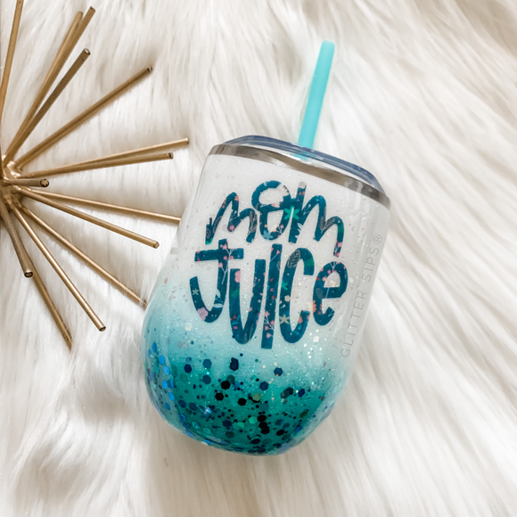 Mom Juice Glitter Wine Tumbler