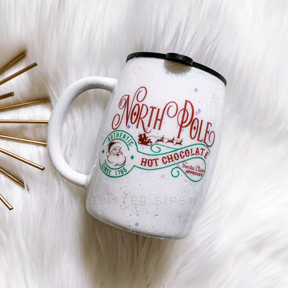 North Pole Hot Chocolate Glitter Mug