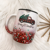 Red Truck Christmas Tree Glitter Coffee Mug