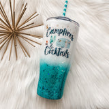Campfires and Cocktails Camping Glitter Tumbler