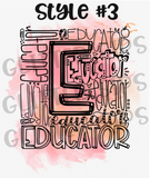 Educator Word Cloud Glitter Tumbler