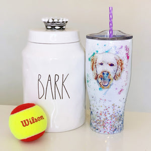 Customized Watercolor Doggy Art Glitter Tumbler
