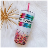 Personalized Crayon Teacher Glitter Tumbler
