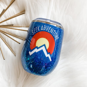 Seek Adventure Colorado Glitter Wine Tumbler