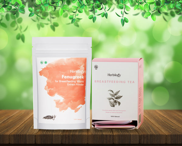 Herbilogy Breastfeeding Tea + Herbilogy Fenugreek Extract Powder Bundle for Sale | VPharma
