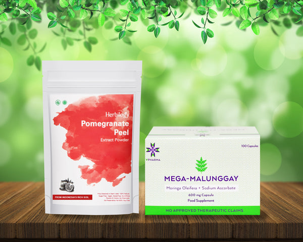 Mega-Malunggay 100's + Herbilogy Pomegranate Extract Powder Bundle for Sale | VPharma