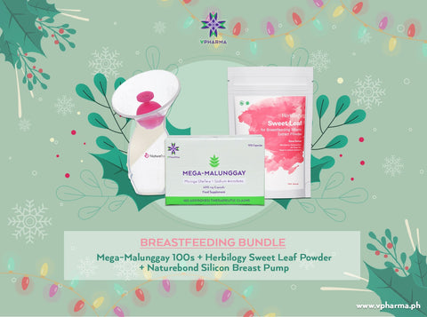 Breastfeeding bundle:  Mega-Malunggay 100s + Herbilogy Sweet Leaf Extract + Naturebond Silicone Breast Pump