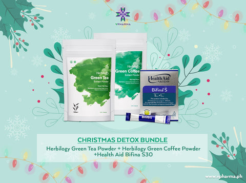 Detox bundle:  Herbilogy Green Tea + Herbilogy Green Coffee + HealthAid Bifina S30
