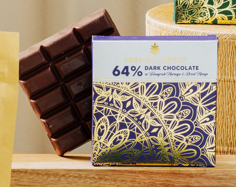 Auro 64% Dark Chocolate with Mega-Malunggay, Herbilogy Fenugreek and Dried Mango 50g
