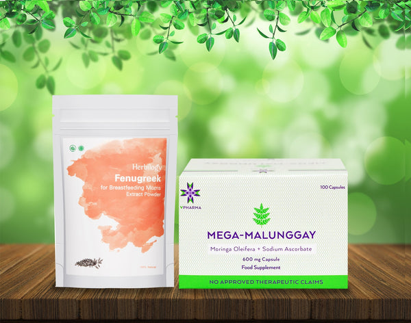 Mega-Malunggay 100's + Herbilogy Fenugreek Extract Powder Bundle for Sale | VPharma