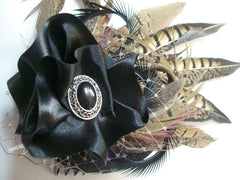 Mixed Natural Pheasant Feather Steampunk Fascinator by Gothic Diva Designs