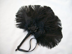black gothic ostrich feather bridal fan