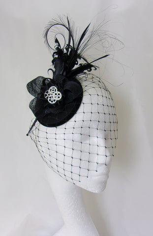black steampunk feather fascinator hat royal ascot