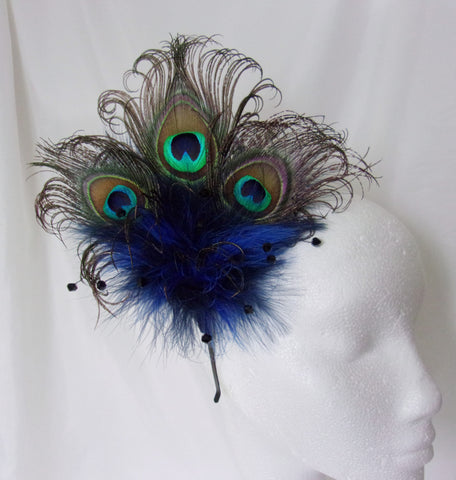 navy & cobalt blue victoriana peacock feather fascinator