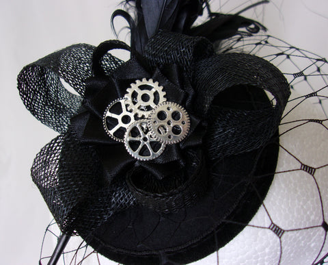 black rosalind steampunk fascinator mini hat