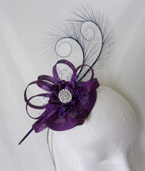 purple isadora sinamay and curl feather fascinator mini hat