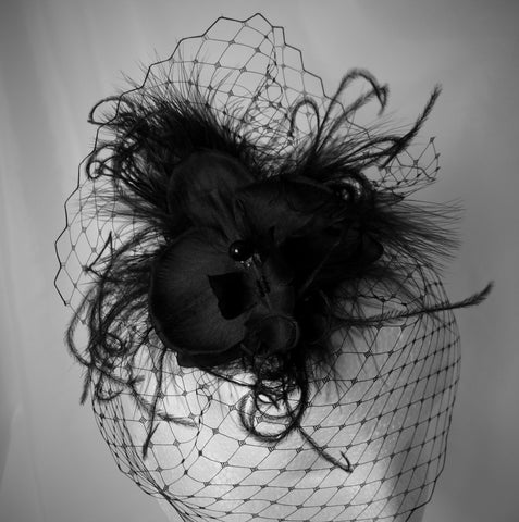 black mini veiled gothic feather and orchid headpiece fascinator