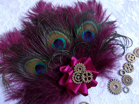 cranberry burgundy peacock feather steampunk watch cog hair clip headpiece fascinator
