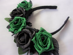 black and emerald green gothic flower halo crown headpiece