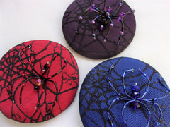 beaded spider & cobweb halloween gothic wedding cocktail hats