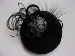 skeleton girl vintage cameo gothic retro cocktail hat