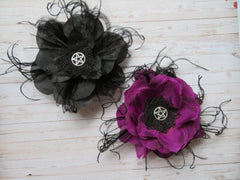 amethyst and black pentagram gothic flower hair clip fascinators